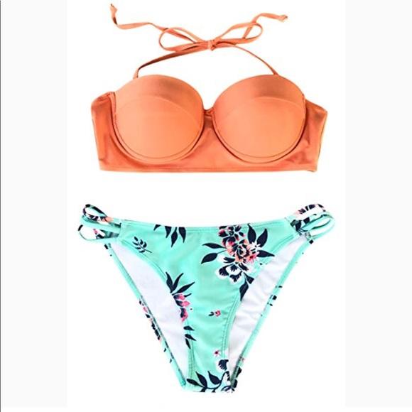 SALE-Cupshe Tropical Print Bikini